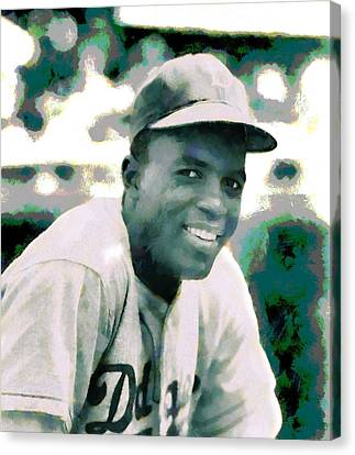 Jackie Robinson Poster Canvas Print by Dan Sproul