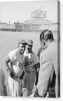 Jackie Robinson With Hank Aaron And Nat King Cole  Canvas Print
