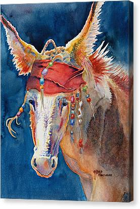 Braids Canvas Print - Jack Burro -  Donkey by Deb  Harclerode