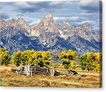 Log Cabin Canvas Print - Jackson Hole by Kathleen Bishop