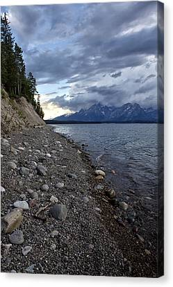 Canvas Print featuring the photograph Jackson Lake Shore With Grand Tetons by Belinda Greb
