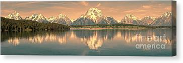 Jackson Lake Sunrise - Grand Teton Canvas Print by Sandra Bronstein