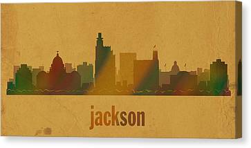 Jackson Canvas Print - Jackson Mississippi City Skyline Watercolor On Parchment by Design Turnpike