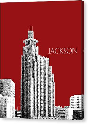 Jackson Skyline - Dark Red Canvas Print by DB Artist