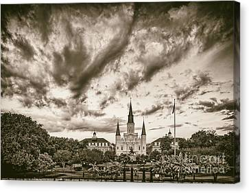 Jackson Square And St. Louis Cathedral In Black And White - New Orleans Louisiana Canvas Print by Silvio Ligutti