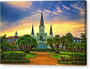 Jackson Square Evening - Paint Canvas Print