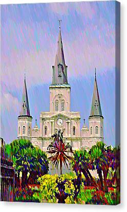 Jackson Square In The French Quarter Canvas Print by Bill Cannon