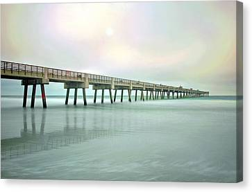 Jacksonville Beach Pier Canvas Print by Marion Johnson