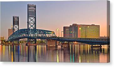 Jacksonville Bridge At Daybreak Canvas Print by Frozen in Time Fine Art Photography