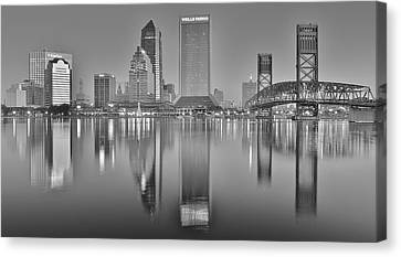 Jacksonville Florida Black And White Panoramic View Canvas Print by Frozen in Time Fine Art Photography