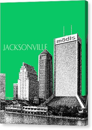 Jacksonville Florida Skyline - Green Canvas Print by DB Artist