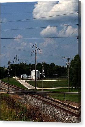 Jacksonville Il Rail Crossing 1 Canvas Print by Jeff Iverson