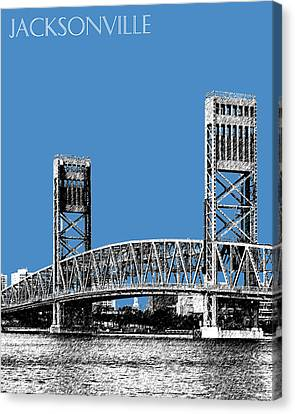 Jacksonville Skyline 2  Main Street Bridge - Slate Blue Canvas Print by DB Artist