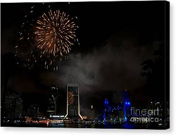 Jacksonville Skyline Fireworks Canvas Print