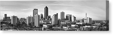Canvas Print featuring the photograph Jacksonville Skyline Morning Day Black And White Bw Panorama Florida by Jon Holiday