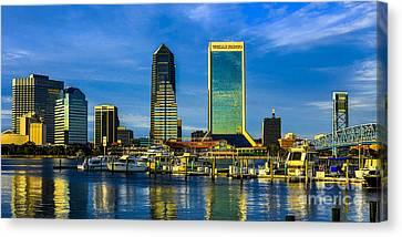 Canvas Print featuring the photograph Jacksonville Skyline Sunset by Paula Porterfield-Izzo