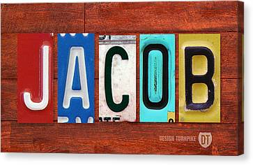 Jacob License Plate Name Sign Fun Kid Room Decor. Canvas Print by Design Turnpike