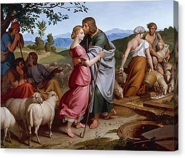 Jacob Meeting Rachel Canvas Print by Joseph von Fuhrich