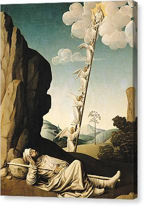 Jacobs Ladder, C.1490 Oil On Panel Canvas Print by French School