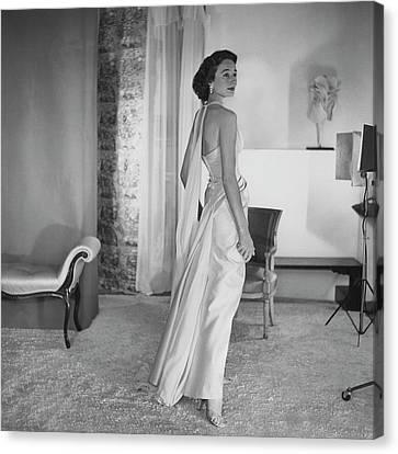 Jacqueline De Ribes Wearing A Desses Dress Canvas Print by Horst P. Horst