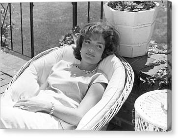 Lady Canvas Print - Jacqueline Kennedy Relaxing At Hyannis Port 1959. by The Harrington Collection