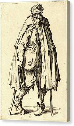 Jacques Callot, French 1592-1635, Beggar With Crutches Canvas Print by Litz Collection