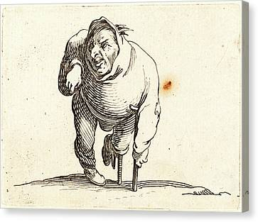 Jacques Callot, French 1592-1635, Cripple With Crutch Canvas Print by Litz Collection