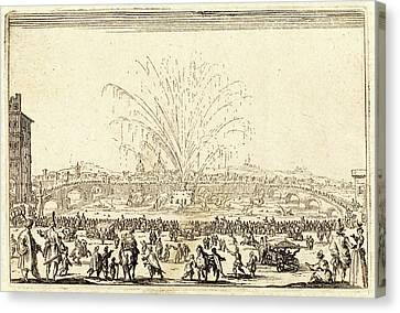 Jacques Callot, French 1592-1635, Fireworks On The Arno Canvas Print by Litz Collection