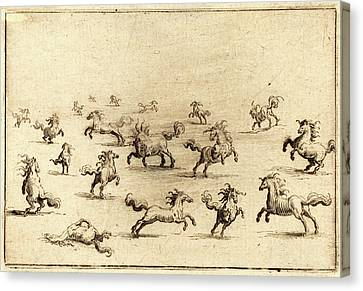 Running Horses Canvas Print - Jacques Callot, French 1592-1635, Horses Running by Litz Collection