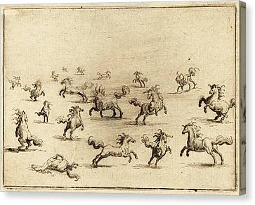 Running Horses Canvas Print - Jacques Callot French, 1592 - 1635, Horses Running by Quint Lox