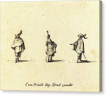 Jacques Callot, French 1592-1635, Lady With Dress Gathered Canvas Print by Litz Collection
