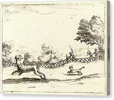 Jacques Callot, French 1592-1635, Lioness And Cub Pursued Canvas Print by Litz Collection