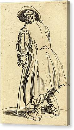Jacques Callot, French 1592-1635, Old Beggar With One Crutch Canvas Print by Litz Collection