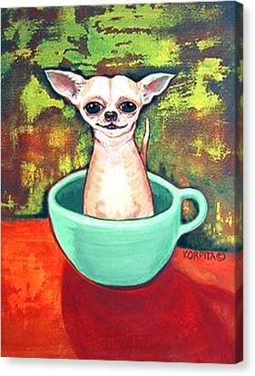 Jadite Fireking Teacup Chihuahua Canvas Print by Rebecca Korpita
