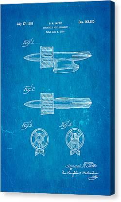 Jaffe Hood Ornament Patent Art 1951 Blueprint Canvas Print by Ian Monk