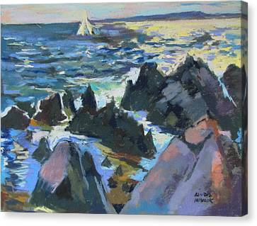 Canvas Print featuring the painting Jagged Rocks by Linda Novick