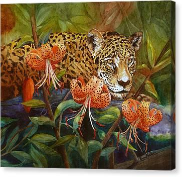 Jaguar And Tigers Canvas Print by Karen Mattson