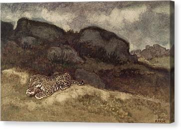 Jaguar Devouring Its Prey Canvas Print by Antoine Louis Barye