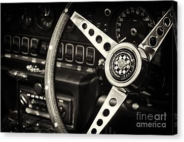 Jaguar E Type Steering Wheel   Canvas Print by Tim Gainey