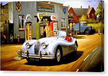 Jaguar Xk 140 Canvas Print by Mike  Jeffries