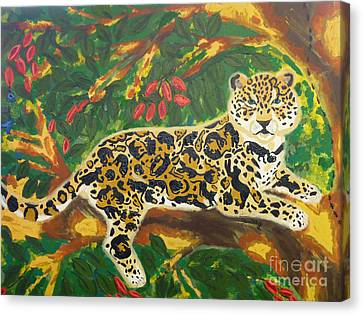 Jaguars In A Jaguar Canvas Print by Cassandra Buckley