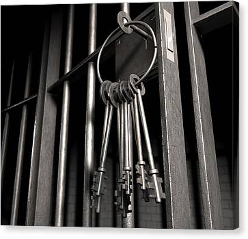 Arrest Canvas Print - Jail Cell With Open Door And Bunch Of Keys by Allan Swart