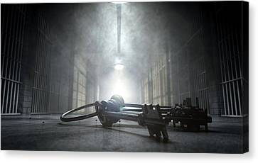 Creepy Canvas Print - Jail Corridor And Keys by Allan Swart