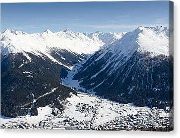 Jakobshorn Davos Town And Mountains Canvas Print