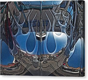 Jalopy Hood Reflections Canvas Print by Samuel Sheats