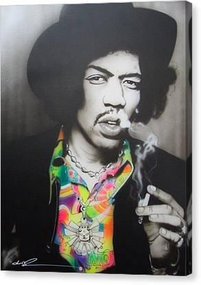 Jimi Hendrix - ' Jam Back At The House ' Canvas Print