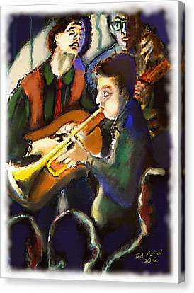 Canvas Print featuring the digital art Jam Session by Ted Azriel