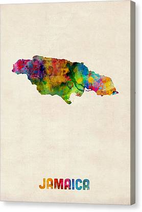 Jamaica Watercolor Map Canvas Print by Michael Tompsett