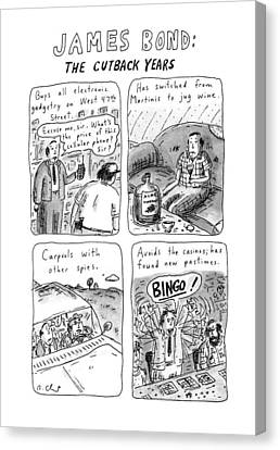 Electronic Canvas Print - James Bond: The Cutback Years by Roz Chast