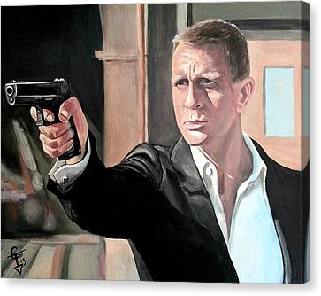 Arcylic Canvas Print - James Bond by Tom Carlton